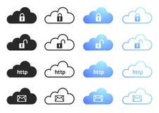 A coleção de computação da nuvem ajustou 4 Imagem de Stock Royalty Free