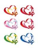 Coleção de corações dobro coloridos Fotografia de Stock
