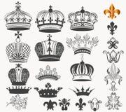 Coleção de coroas reais do vintage do vetor para o projeto Fotografia de Stock Royalty Free
