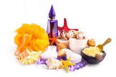 Coleção de cosméticos dos termas e do bodycare foto de stock