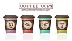 A coleção de crachás do café e o logotipo projetam no vetor do copo de café Fotografia de Stock Royalty Free