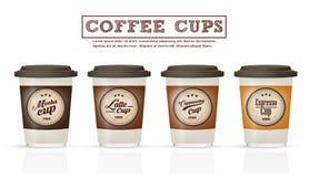 A coleção de crachás do café e o logotipo projetam no vetor do copo de café Fotografia de Stock