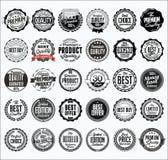 Coleção de crachás pretos varejos em um fundo branco Fotografia de Stock