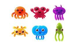 Coleção de criaturas lustrosas coloridas do mar, ilustração animal marinha bonito do vetor dos caráteres ilustração royalty free