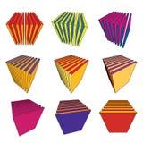 Coleção de cubos abstratos Fotografia de Stock