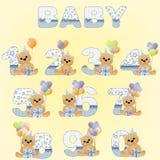 Coleção de dígitos bonitos do aniversário do bebê Imagens de Stock