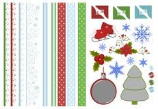 Coleção de decorações do scrapbook do Natal Foto de Stock Royalty Free