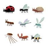 Coleção de desenhos animados dos insetos Fotografia de Stock Royalty Free
