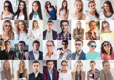 A coleção de diferente muitos jovens de sorriso felizes enfrenta mulheres e homens caucasianos Negócio do conceito, avatar imagens de stock royalty free