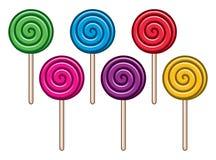 Coleção de doces coloridos do pirulito ilustração do vetor