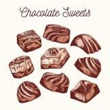 Coleção de doces do chocolate fotografia de stock