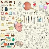 Coleção de elementos do projeto da garatuja ilustração stock
