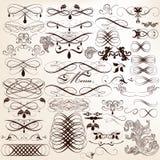 Coleção de elementos do projeto do vetor e da decoração caligráficos da página Foto de Stock