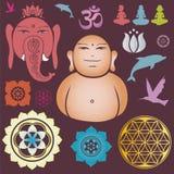Coleção de Buddah de elementos esotéricos florais ilustração do vetor