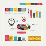 Coleção de elementos infographic lisos coloridos. Fotografia de Stock