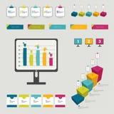 Coleção de elementos infographic lisos coloridos. Fotos de Stock