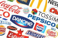 Coleção de empresas populares dos logotipos do alimento Foto de Stock