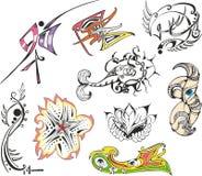 Coleção de esboços da tatuagem da fantasia Fotografia de Stock Royalty Free