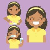 Coleção de escovadela do vetor da atividade dos dentes da menina afro-americano ilustração do vetor