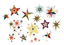 Coleção de estrelas decorativas Fotos de Stock Royalty Free