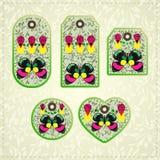 Coleção de etiquetas coloridas com teste padrão ornamentado e borboletas Fotos de Stock Royalty Free