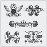 Coleção de etiquetas da aptidão, de emblemas, de crachás, de logotipos e de elementos do projeto Imagens de Stock Royalty Free
