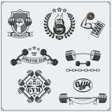 Coleção de etiquetas da aptidão, de emblemas, de crachás, de logotipos e de elementos do projeto Imagem de Stock