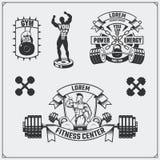 Coleção de etiquetas da aptidão, de emblemas, de crachás, de logotipos e de elementos do projeto A ilustração e a silhueta de bod Imagens de Stock Royalty Free