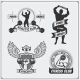 Coleção de etiquetas da aptidão, de emblemas, de crachás, de logotipos e de elementos do projeto Silhueta do bodybuilder Imagem de Stock Royalty Free