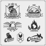 Coleção de etiquetas da carne de Fried Chicken, de crachás, de emblemas e de elementos do projeto Fotografia de Stock Royalty Free