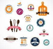 Coleção de etiquetas da padaria e do café do vintage Foto de Stock Royalty Free