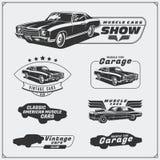 Coleção de etiquetas dos carros do músculo do vintage, crachás e elementos do projeto Etiquetas do serviço do carro Foto de Stock