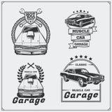 Coleção de etiquetas dos carros do músculo do vintage, crachás e elementos do projeto Etiquetas do serviço do carro Fotos de Stock