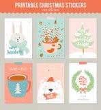 Coleção de 9 etiquetas e cartões do presente do Natal Fotos de Stock Royalty Free