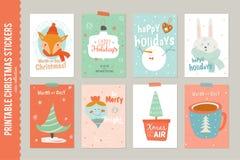 Coleção de 8 etiquetas e cartões do presente do Natal Fotos de Stock Royalty Free