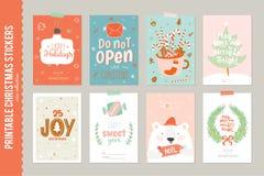 Coleção de 8 etiquetas e cartões do presente do Natal Imagem de Stock Royalty Free