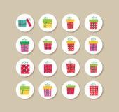 Coleção de etiquetas e de ícones do Natal dos presentes Foto de Stock Royalty Free