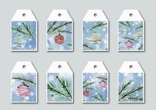 Coleção de etiquetas elegantes brilhantes com ilustrações do Natal Isolado Foto de Stock