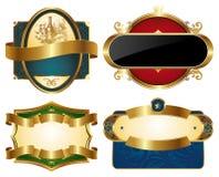 Coleção de etiquetas ornamentado douradas Fotografia de Stock