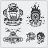 Coleção de etiquetas retros da motocicleta, de emblemas, de crachás e de elementos do projeto Estilo do vintage Fotos de Stock Royalty Free