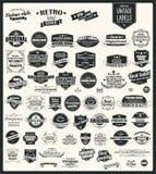Coleção de etiquetas retros do vintage, crachás, selos, fitas ilustração royalty free