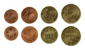 Coleção de Eurocents Fotografia de Stock