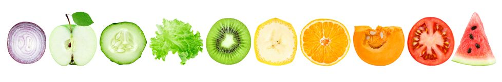 Coleção de fatias das frutas e legumes ilustração royalty free