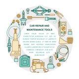 Coleção de ferramentas do reparo e da manutenção do carro Imagens de Stock Royalty Free