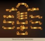 Coleção de fitas do ouro Imagem de Stock Royalty Free