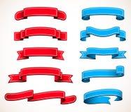 Coleção de fitas vermelhas e azuis Fotografia de Stock Royalty Free