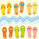 Coleção de flip-flops engraçados ilustração royalty free