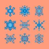 Coleção de flocos de neve do estilo da arte do pixel Imagens de Stock Royalty Free