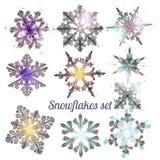 Coleção de flocos de neve filigranas do vetor para o projeto do Natal Imagens de Stock Royalty Free