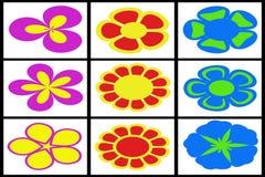 Coleção de flores coloridas Imagens de Stock